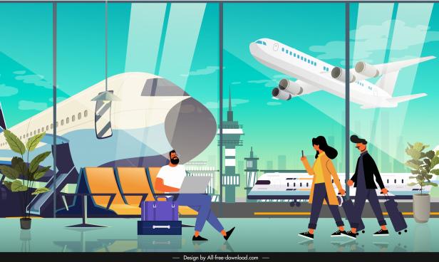 traveling background airport departure hall sketch cartoon design