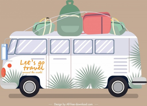 traveling bus icon classical flat design