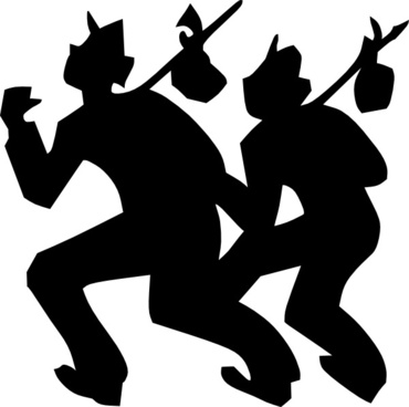 Travellers Carrying Luggage On A Stick clip art