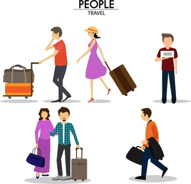 travelling people icons sets in color style