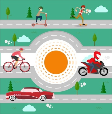 travelling vector illustration with various of means