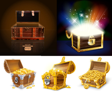 treasure box design elements vector