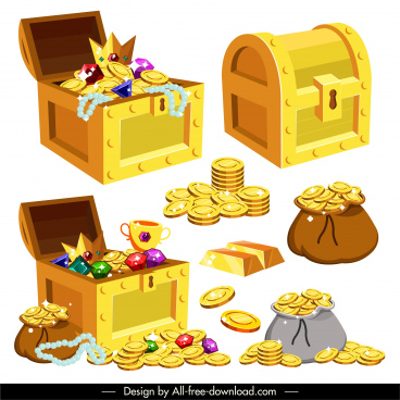 treasure icons coins gold gems sketch 3d design