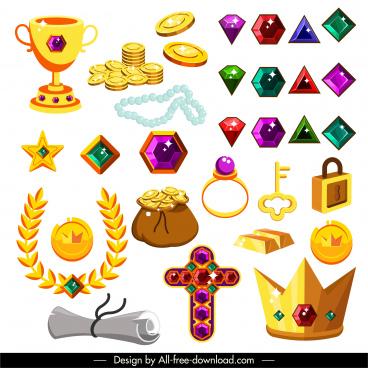 treasures design elements colorful 3d symbols sketch