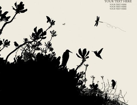 nature background birds trees icons dark silhouette design
