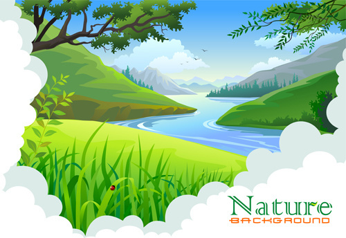 tree and natural scenery vector background