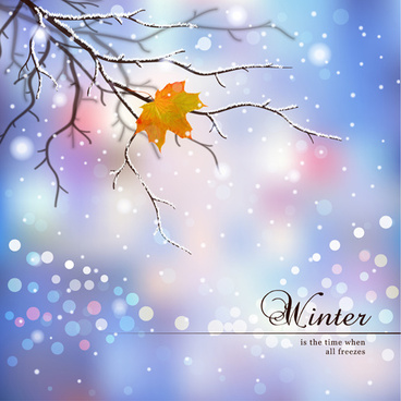 tree branch and blurs winter background vector
