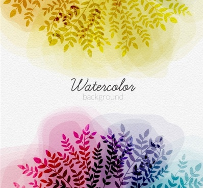 tree branches with watercolor background vector