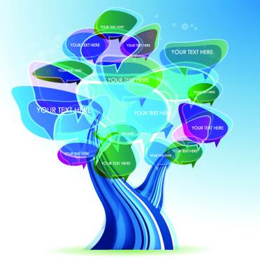 tree cloud information labels design vector