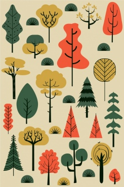 tree design elements classical colored flat sketch