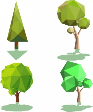 tree icons collection 3d colored polygonal design