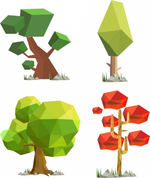tree icons collection 3d polygonal decoration