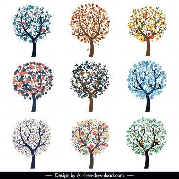 tree icons collection blooming sketch colorful flat sketch