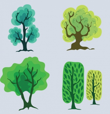 tree icons collection colored hand drawn design