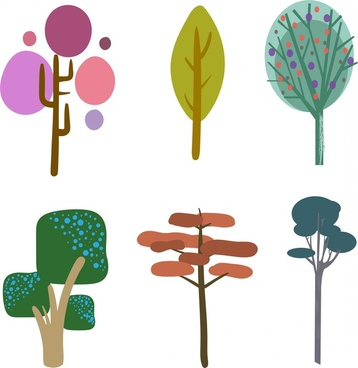 tree icons collection colored hand drawn style