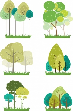 tree icons collection flat colored design