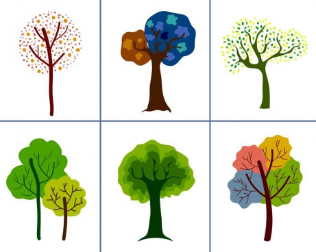 tree icons collection various multicolored design