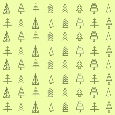 tree icons collection various shapes lines decoration