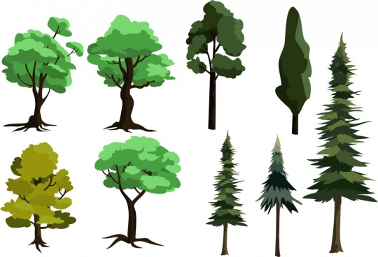 tree icons collection various types green design