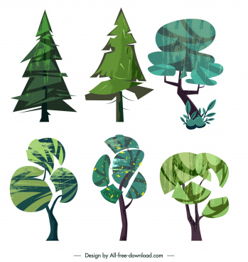 tree icons colored retro handdrawn sketch