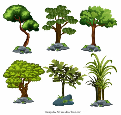 tree icons colored shapes sketch