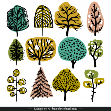 tree icons flat design retro handdrawn
