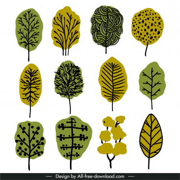 tree icons flat retro handdrawn outline