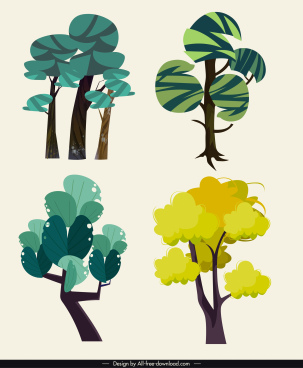 tree icons green flat handdrawn design