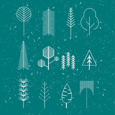 tree icons isolation various shapes sketch lines decoration
