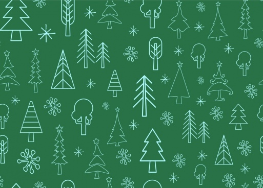 tree icons pattern outline repeating style design