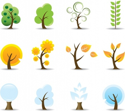 tree icons colored flat design