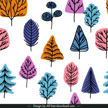 tree pattern template flat handdrawn colorful classic