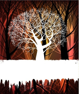 tree silhouette background 02 vector