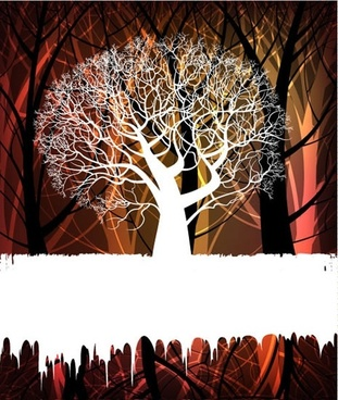 nature background template tree sketch flat silhouette design