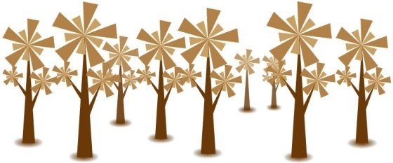 tree icons background brown decoration geometric design style