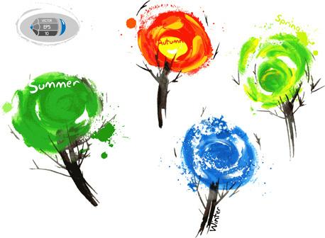 tree watercolor drawn vector
