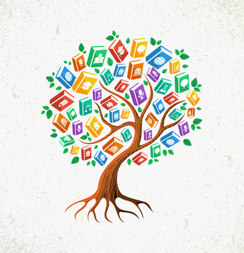 tree with book creative vector