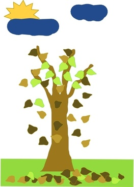 Tree With Leaves Falling clip art
