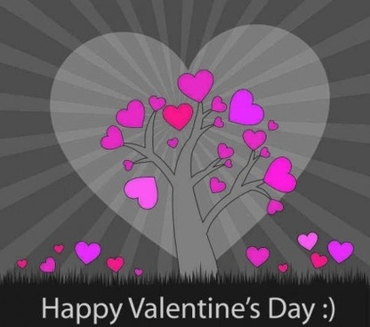 tree with pink hearts background vector
