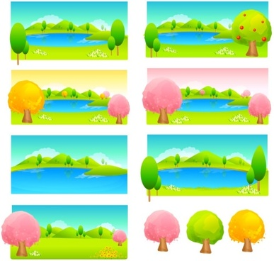 trees and water color vector
