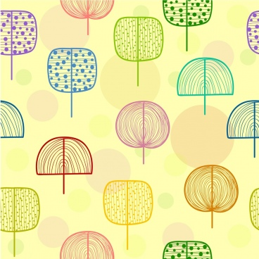 trees background multicolored flat hand drawn sketch