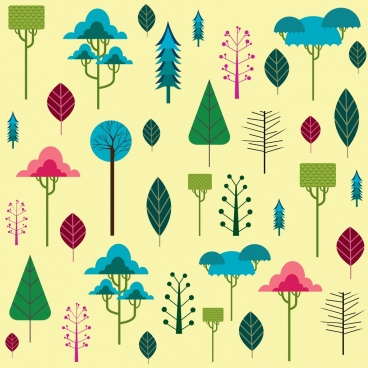 trees background various colored icons flat design