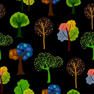 trees background various multicolored icons dark design