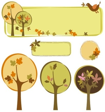 trees decorative box vector subject