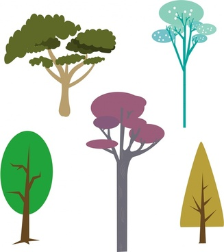 trees design collection various colorful types