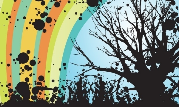 Trees floral Vector Swirls