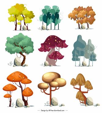 trees icons collection colored classic handdrawn sketch