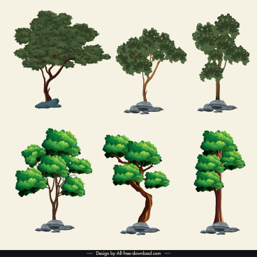 trees icons colored modern sketch