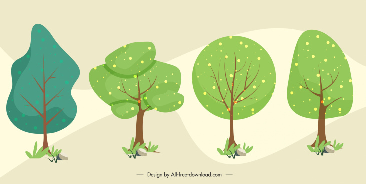 trees icons flat classical handdrawn sketch