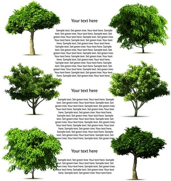 trees background various green types realistic design style